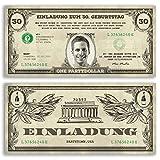 (30 x) Einladungskarten Geburtstag Dollarschein Geldschein witzige Einladungen