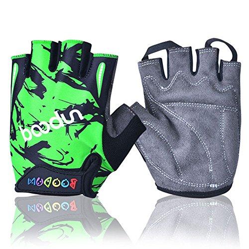 iwish Halb-Finger-Handschuhe für Kinder, dünn, Outdoor, Sport-Handschuhe, Fahrrad-Handschuhe für Kinder Medium grün