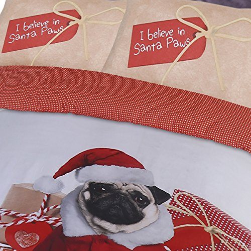 Pieridae Christmas Pug Duvet Cover & Pillowcase Set Bedding Digital Print Quilt Case Bedding Bedroom Daybed (Double)