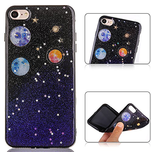 PLECUPE iPhone 7 Hülle, iPhone 8 Silikon Case Hülle, Ultra Dünner Kreative Muster Bling Glitzer Weich TPU Gel Silicone Handyhülle Fall Tasche für Apple iPhone 7/8, Lila Lila Iphone Fall