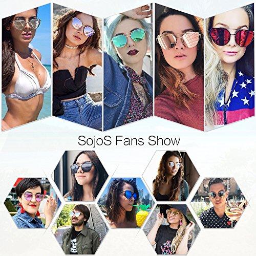 Damensonnenbrille: SojoS Katzenauge Metall Rand Rahmen Damen mit Gold Rahmen/Rosa Linse