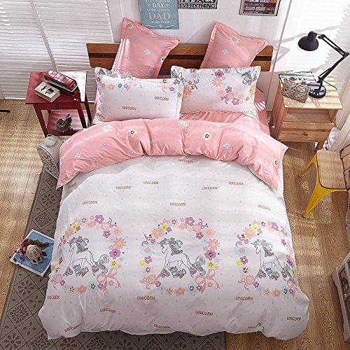 Stylingband Magic Einhorn Print Betten-Bettlaken-Set Bettbezug Kissen Twin Full Queen Size (Bettdecke Queen-französisch)