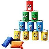 Ulifee blikjeswerpen voor kinderen, blikjeswerpspel voor kinderverjaardagen en andere feestjes, 10 stuks glimlachblikjes & 3