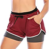 SAITI Women Running Shorts 2-in-1 Double Layer Sports Shorts with Pockets High Waist Quick Dry Gym Workout Shorts