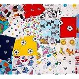 CR8 Comercio - Retales de tela para patchwork (50 unidades, 10 x 10 cm, incluye 1 m de lazo), diseños infantiles