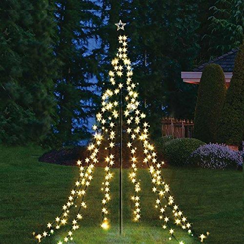 Lichterpyramide 400 cm hoch mit 400 LED warmweiß Weihnachtsdeko Lichterkette Beleuchtung Stern XXL Lichternetz