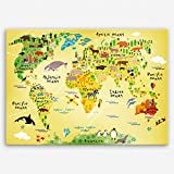 ge Bildet Hochwertiges Leinwandbild - Weltkarte für Kinder - Bild für kinderzimmer - 70 x 50 cm Einteilig | Wanddeko Wandbild Wandbilder Wohnzimmer deko Bild |