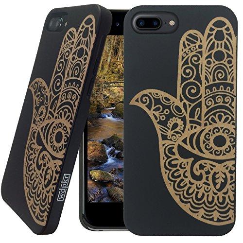 Holz iPhone Hülle-iPhone 8Plus-wdpkr Holz-Einzigartiges Hohe Kontrast Schwarz Ahorn Holz Bumper Zubehör für Apple iPhone 8Plus, Hamsa Fatima Hand