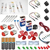 vyga 2 Motor with Jumber Wire/7 Types Resistors/4 Dc Motor/2 Battery with Snap/4 Holder/2 Fan/3mWire/15 Pcs Led/3 Mini Rocker Switch