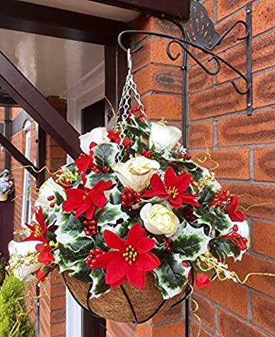Christmas Festive Red Floral Artificial Silk Flower Holly Hanging Basket