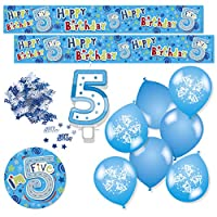 Expression Factory - Birthday Boy Age 5 Blue Party Decorations Pack