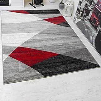 Vimoda Moderno Soggiorno Tappeto, Disegno Geometrico, Erica in Grigio, Bianco, Nero e Rosso – Öko-Tex Certificato