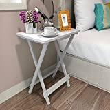 Lifewit Folding Utility Table, Wooden End Table, Snack Table for Patio / Garden / Outdoor / Indoor, White (Wood)
