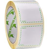 500 x etiquettes congelation sur rouleau, taille 50x50mm carrés, blanc et vert étiquettes de date utilisation pour les…