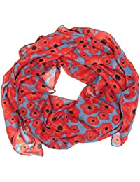 Poppy Print Scarves for Women Stylish Large Size Scarf Lady Shawl (Charcoal grey)