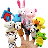 JZK 11 Animal finger puppet set small plush toy animal hand puppet for children kids party favours birthday party bag…