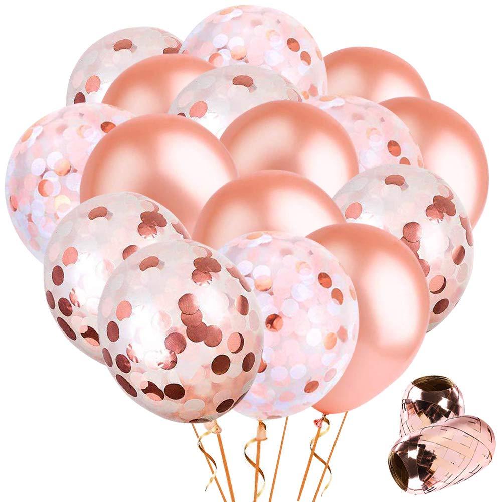52 piezas de oro rosa lentejuelas globos decoraciones Set -10 piezas confeti globos 10 piezas lentejuelas globos 30 piezas fiesta de látex globos 2 piezas cintas de carrete para Acción de Gracias Navidad Boda Aniversarios Festivales Cumpleaños Baby Shower