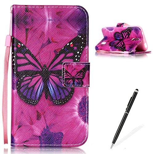 Feeltech Hülle für Huawei Y625 Weich Magnet PU Brieftasche Elegant Kartenfach Extra Dünn Schutzhülle Bunte ReLife MusterKarte Halterung Klapp Ledertasche - Roter Schmetterling
