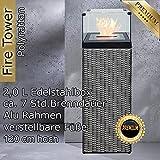 Bio Ethanol Feuersäule Feuerschale Feuerstelle Feuerkorb Kamin Ofen für Garten und Terrasse aus Polyrattan passend zu Sonnenliege und Gartenmöbel Farbe Silber