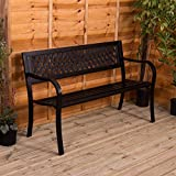 Home Discount Stahl Garden Bench, Gitter Stil Design 3-Sitzer Outdoor-Möbel Platz Park Patio Sitz