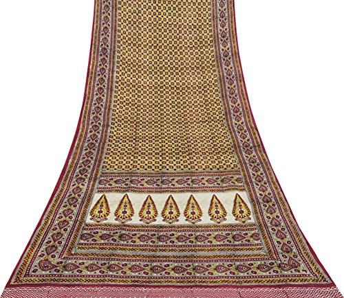 Vintage Indische Ethnische Saree Schoene Printed Pure Silk Multicolor Sari Stoff 5 Yards