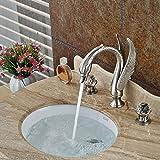 Tougmoo Creative Swan Forme double poignée Mitigeur de lavabo robinet Répandue Nickel brossé de salle de bain Lavabo chaud froid Robinets