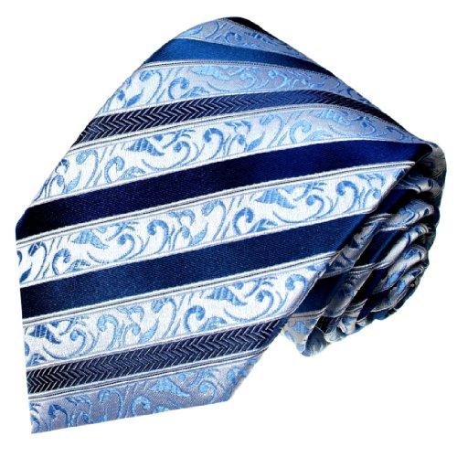 Lorenzo Cana XXL KRAWATTE 165 cm - Blaue Streifen Paisley Krawatte aus 100% Seide - blue silk tie - 8429899