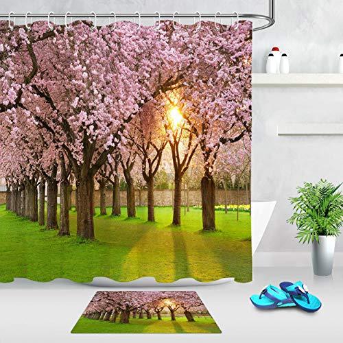 ZZ7379SL Pink Sakura Park Sonnenschein Badezimmer Stoff Duschvorhang Set mit Haken 180 * 180 cm + 12 Haken Pads 40 * 60C (Sakura Badezimmer-set)