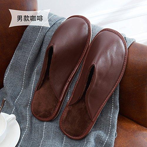 Fankou in autunno e in inverno è il pimo impermeabile uomini donne indoor giovane caldo non - slip home inverno spesse pantofole di cotone Grün