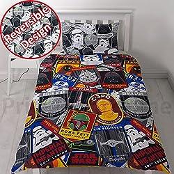"""Star Wars Classic """"Patch 2piezas UK nos único/doble juego de sábanas–Hoja de doble cara, 1x y 1x funda de almohada de repetición diseño de impresión"""