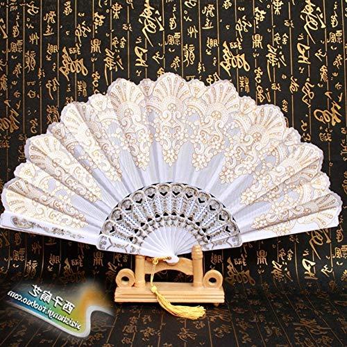 Ventilador plegable, plástico retro dorado de encaje blanco Ventilador plegable de plástico...