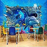 Guyuell Benutzerdefinierte Fotowand Papier 3D Stereo Unterwasserwelt Delphin Wandbild Kinder Kinder Schlafzimmer Hintergrund Wand Wohnkultur Papier Peint 3 D-300Cmx210Cm