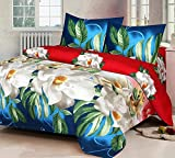 Hargunz Glace cotton Floral Double Bedsheet with 2 pillow Covers-multi-90