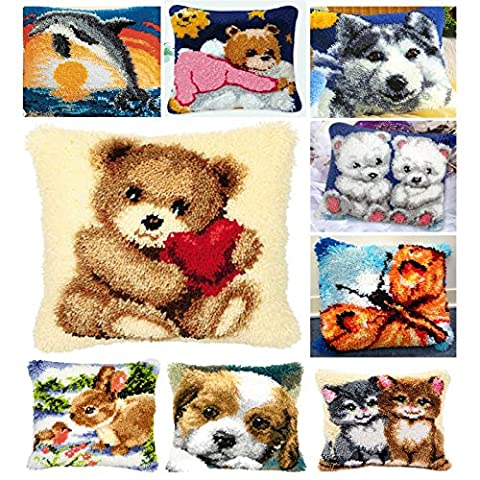 14 Model Latch Hook Kit Bear Cushion Cover DIY Craft Needlework Crocheting Cushion Embroidery BZ109
