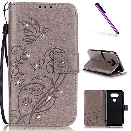 EMAXELERS LG G5 Hülle Leder LG G5 Hülle Pink Lederhülle Flip Schale Brieftasche Standfunktion und Karte Halter Etui Kartenfächer Wallet Tasche Etui für LG G5,Gray Butterfly with Diamond
