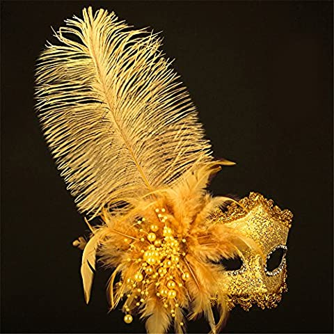 Halloween Mask Masquerade Painted Plumes Belle Princesse Pearl Masks,Golden
