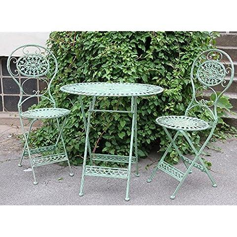 Art Nouveau Garden Furniture Set antique style green - 1 table, 2 chairs - metal garden furniture