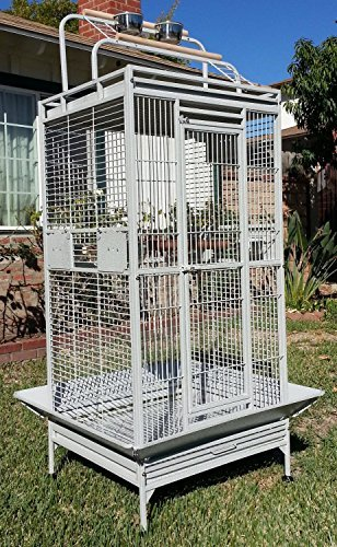 Mcage New Large Wrought Iron Bird Parrot Cage Double Ladders Open/Close Play Top, Include Seed Guard and Play Top