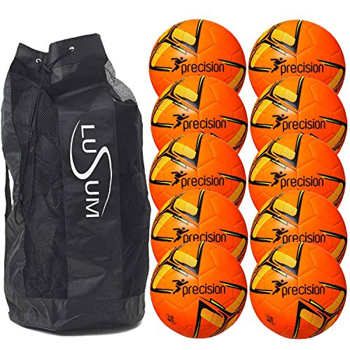 Precision Training Fusion Football 10 Ball Pack with Bag Fluo Orange Size 5