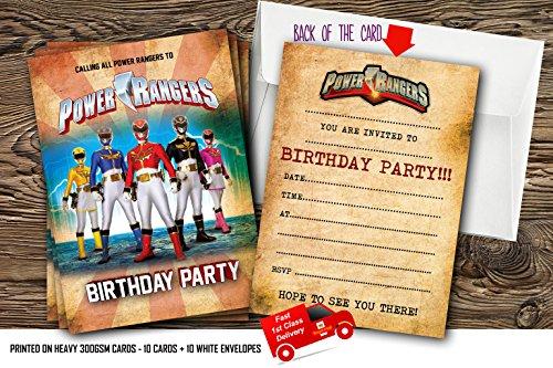 (10x Power Rangers Geburtstag Party Einladungen mit 10Kostenlosen Umschlägen, 10)