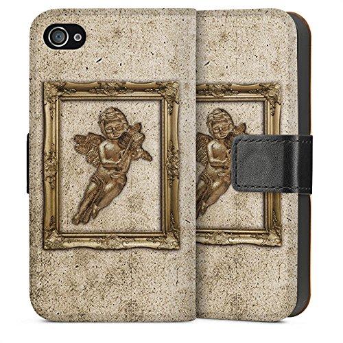 Apple iPhone 4 Housse Étui Silicone Coque Protection Ange Canne Tableau Sideflip Sac