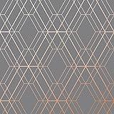 Metro Tapeten mit geometrischem Rautenmuster - Anthrazit und Kupfer–WOW002World of Wallpaper
