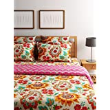 SWHF Turu Cotton 5 Piece Bedding Set Of AC Quilt/Comforter, 2 Cushion Covers And 2 Pillow Covers (Blossom, Standard)