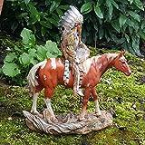 Deko Indianer Figur Häupling auf Pferd mit Wolf Dekoration Indianerfigur