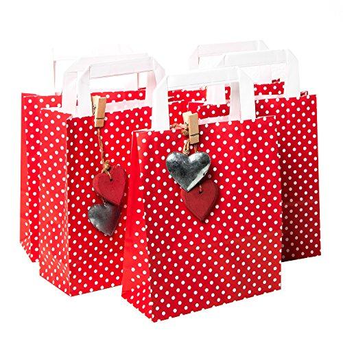 epunktete Papiertüten Geschenktüten 18 x 22 x 8 cm + 10 Herz Anhänger - 5 aus Metall + 5 aus Holz Papier Geschenktaschen Osternest Verpackung give-away Geschenke aus LIEBE (Rotes Und Weißes Geschenkpapier)