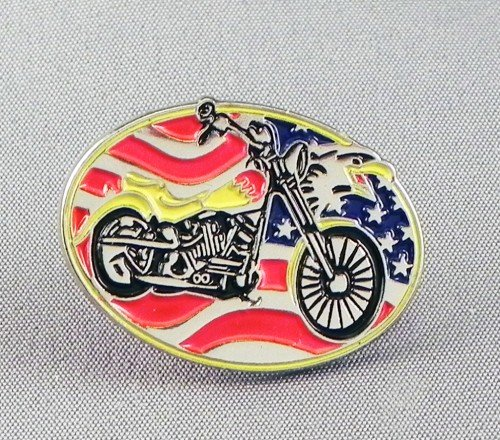 Mainly Metal Metall Emaille Brosche Custom Biker Chopper USA Flagge