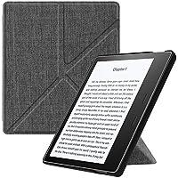 Fintie Hülle für Kindle Oasis 2017 - [Origami Serie] Leichte Multi-Winkel Stand Cover mit Auto Wake/Sleep Funktion für Amazon Kindle Oasis (9. Generation - 2017 Modell), Stoff dunkelgrau