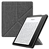 Fintie Hülle für Kindle Oasis 2017 - [Origami Serie] Leichte Multi-Winkel Stand Cover mit Auto Wake/Sleep Funktion für Amazon Kindle Oasis (9. Generation - 2017 Modell), Stoff Dunkelgrau