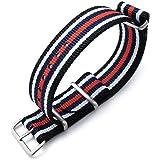 Strapcode MiLTAT 21mm o 22mm G10 Bullet Tail Watch Strap, nylon balistico, spazzolato - strisce nere, bianche, blu e rosse