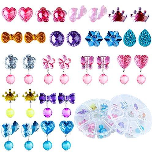 Mädchen Ohrringe Mädchen Spiel Ohrringe Prinzessin Klipp Ohrring Set für Party Gefallen Verpackt in 2 transparenten Boxen (Ananas Hut Kostüm)